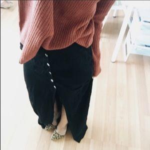 Black Button up Maxi Skirt